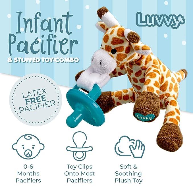 Amazon.com: Luvvy - Chupete para bebé y jirafa de peluche ...