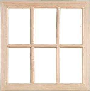 Darice 17 inch Unfinished Wood Window, Brown