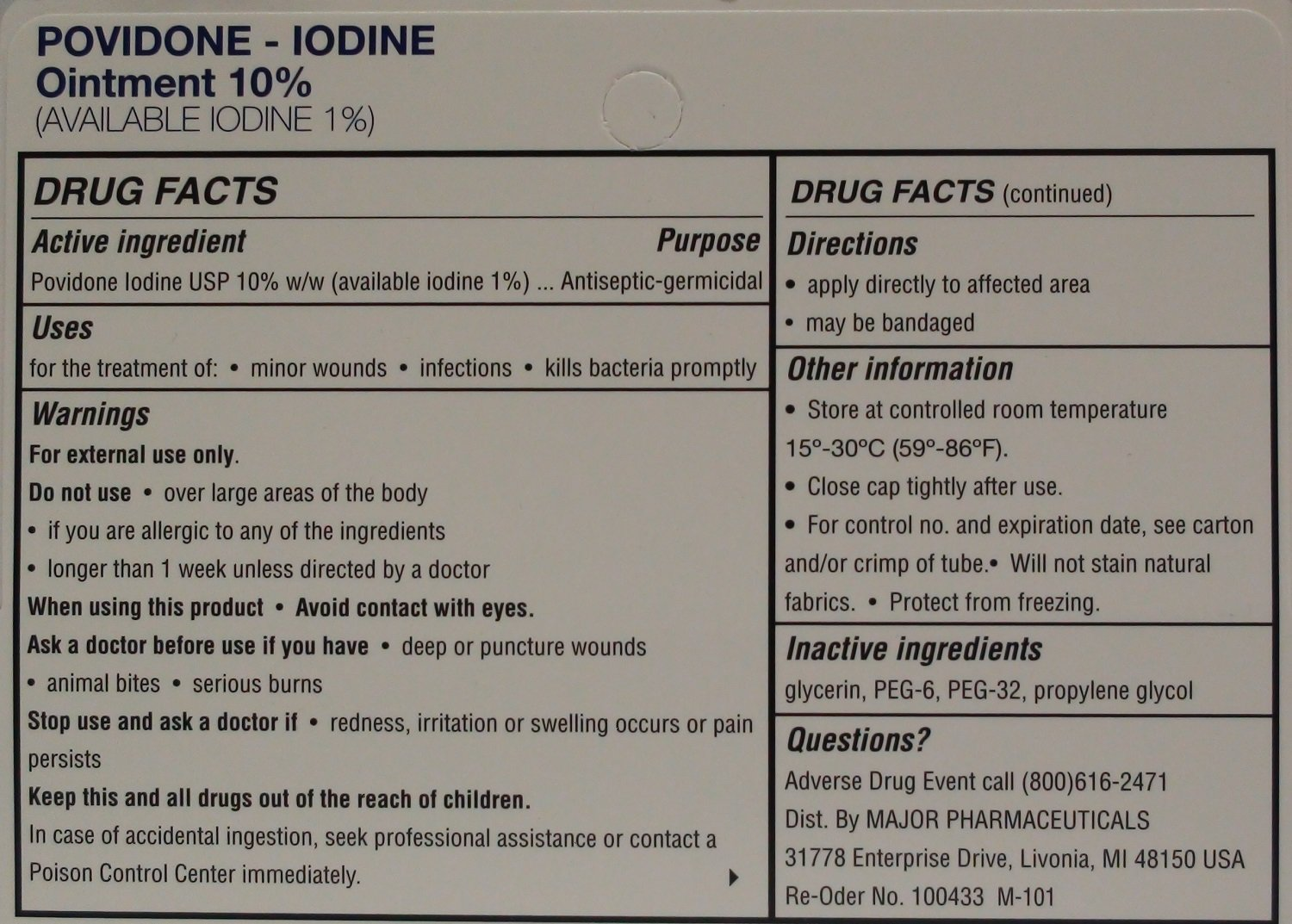 Povidone Iodine 10 % Generic for Betadine Ointment 1 oz. Tube Pack of 6 Tubes Total 6 oz.