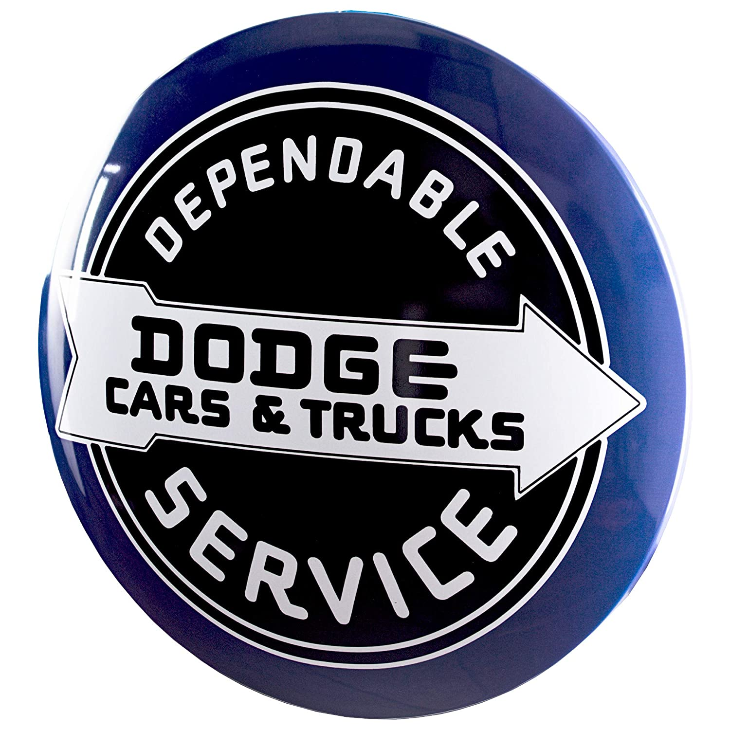 """Officially Licensed Dodge Cars & Trucks Dome Shaped Metal Sign Wall Decor for Bar, Garage or Man Cave (15"""")"""