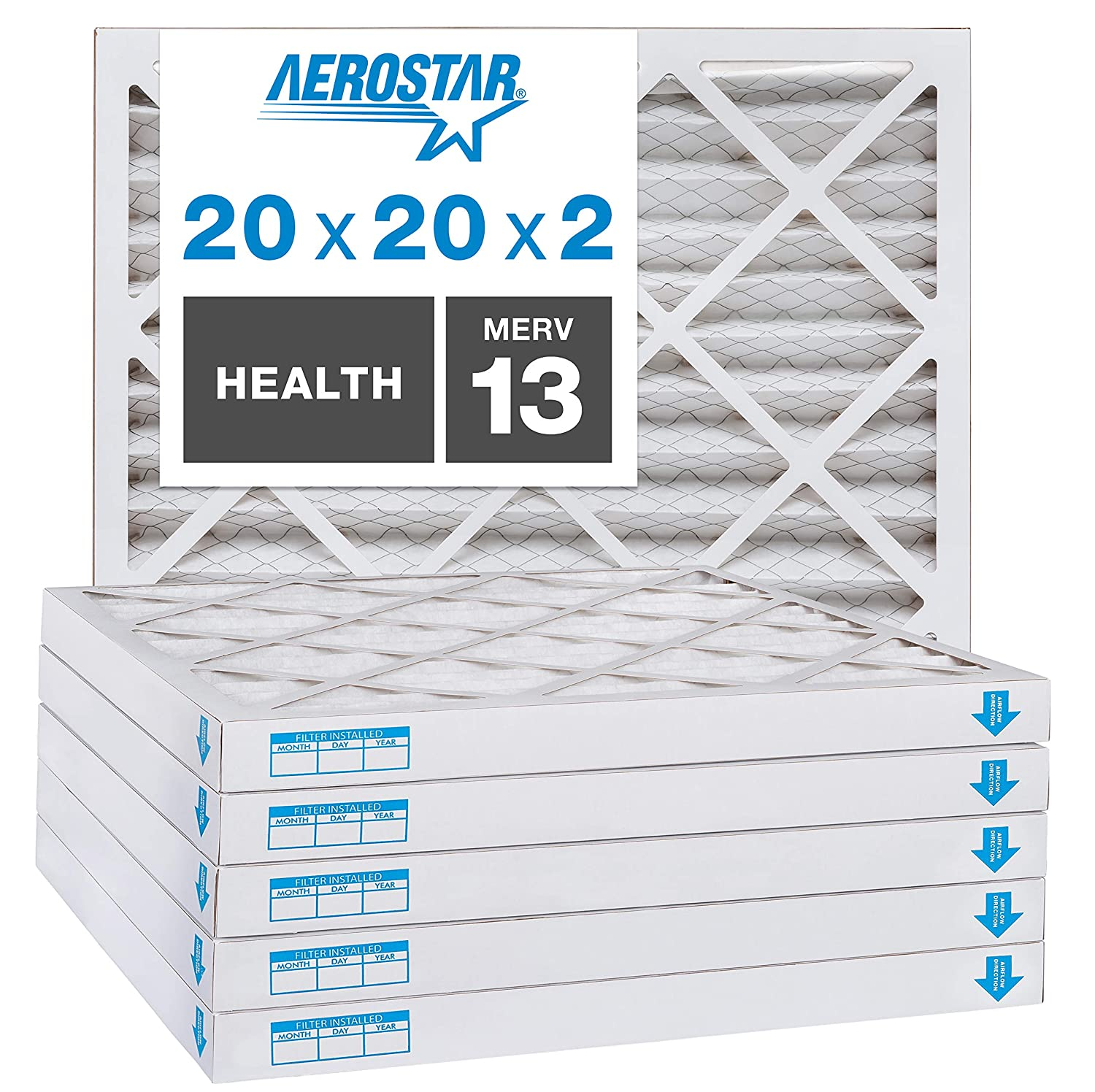 Aerostar Home Max 20x20x2 MERV 13 Pleated Air Filter, Made in the USA, 6-Pack