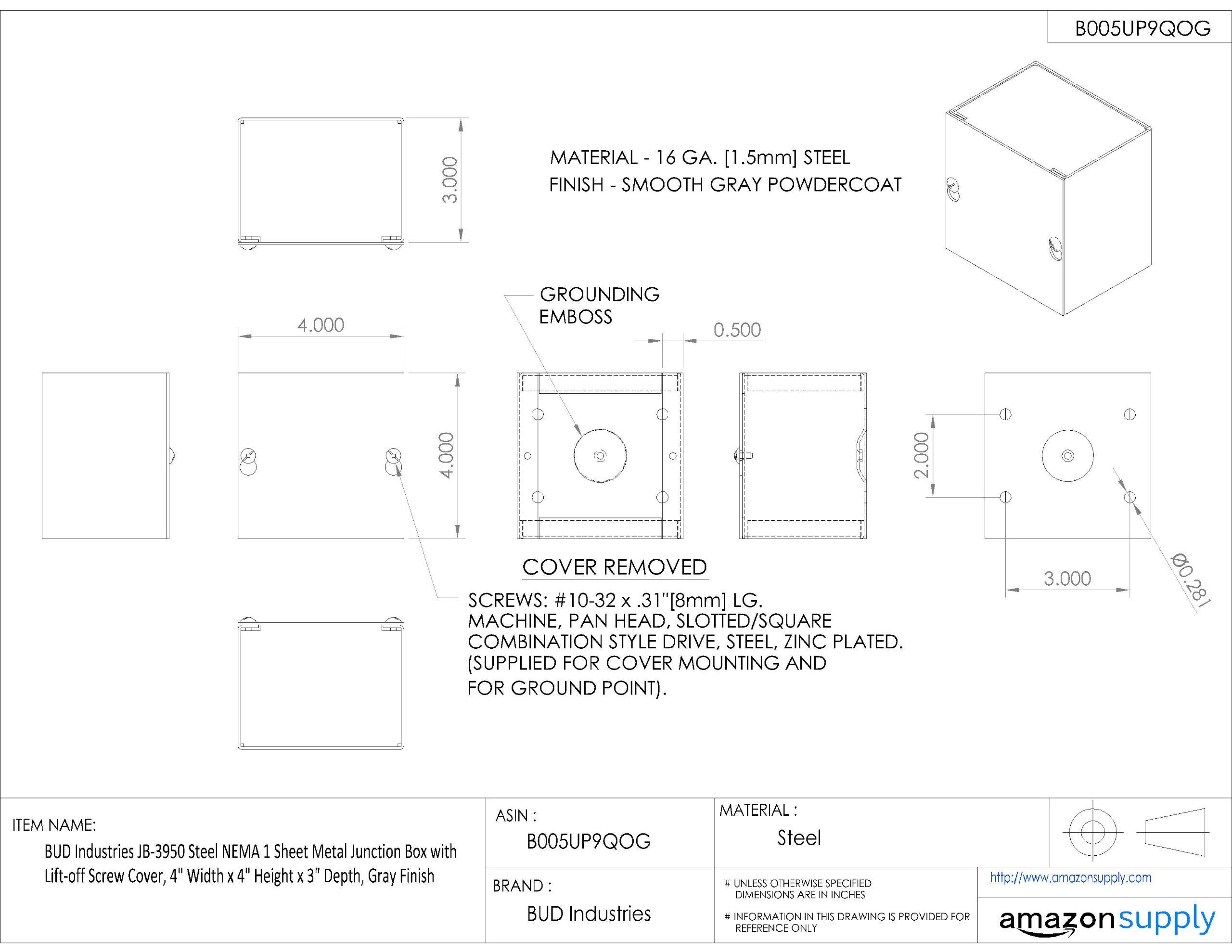 BUD Industries JB-3950 Steel NEMA 1 Sheet Metal Junction Box with Lift-off Screw Cover, 4'' Width x 4'' Height x 3'' Depth, Gray Finish
