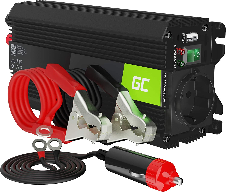 Green Cell Pro 500W/1000W 24V a 220V/230V Onda sinusoidal modificada Inversor de Corriente DC AC Power Inverter Transformador de Voltaje para Camion con Puerto USB