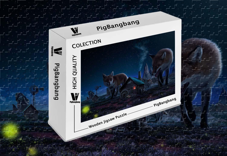 【限定価格セール!】 PigBangbang、知的ゲーム フォトモザイク (29.5 ジグソーパズル 木製 箱入り 1000ピース 有名な絵画 - - 大きなフォックスと小さな家 アート 絵 - 1000ピース ジグソーパズル (29.5 X 19.6インチ) B07FXH1J2M, LOHATEX[ロハテックス]:3c906447 --- 4x4.lt