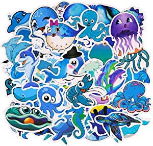 Cute Blue Ocean Animal Stickers Vinyl Waterproof Sticker Decals for Water Bottle, Laptop, Hydro Flask, Scrapbooking, 49PCS Whale Dolphin Shark Jellyfish Seahorse Sticker Pack Kids Girls Gifts