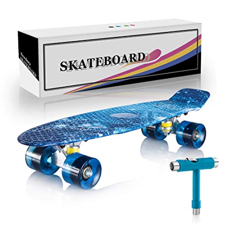 Newdora 22 Complete Skateboard Cruiser with Colorful LED Light Up Wheels for Kids, Boys, Girls, Youths, Beginners