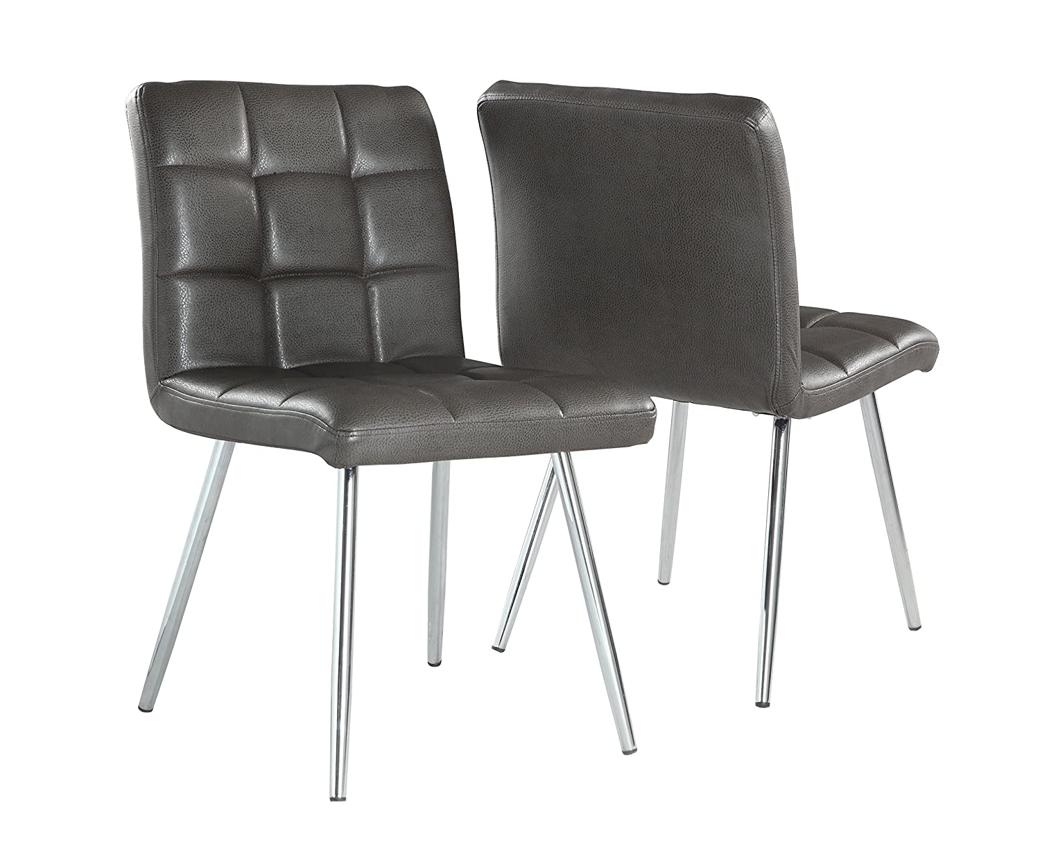 Marvelous Amazon.com   Monarch Specialties Grey Leather Look/Chrome Metal 2 Piece Dining  Chair, 32 Inch   Chairs Part 12