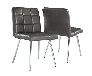 Monarch Specialties Grey Leather Look/Chrome Metal 2 Piece Dining Chair, 32