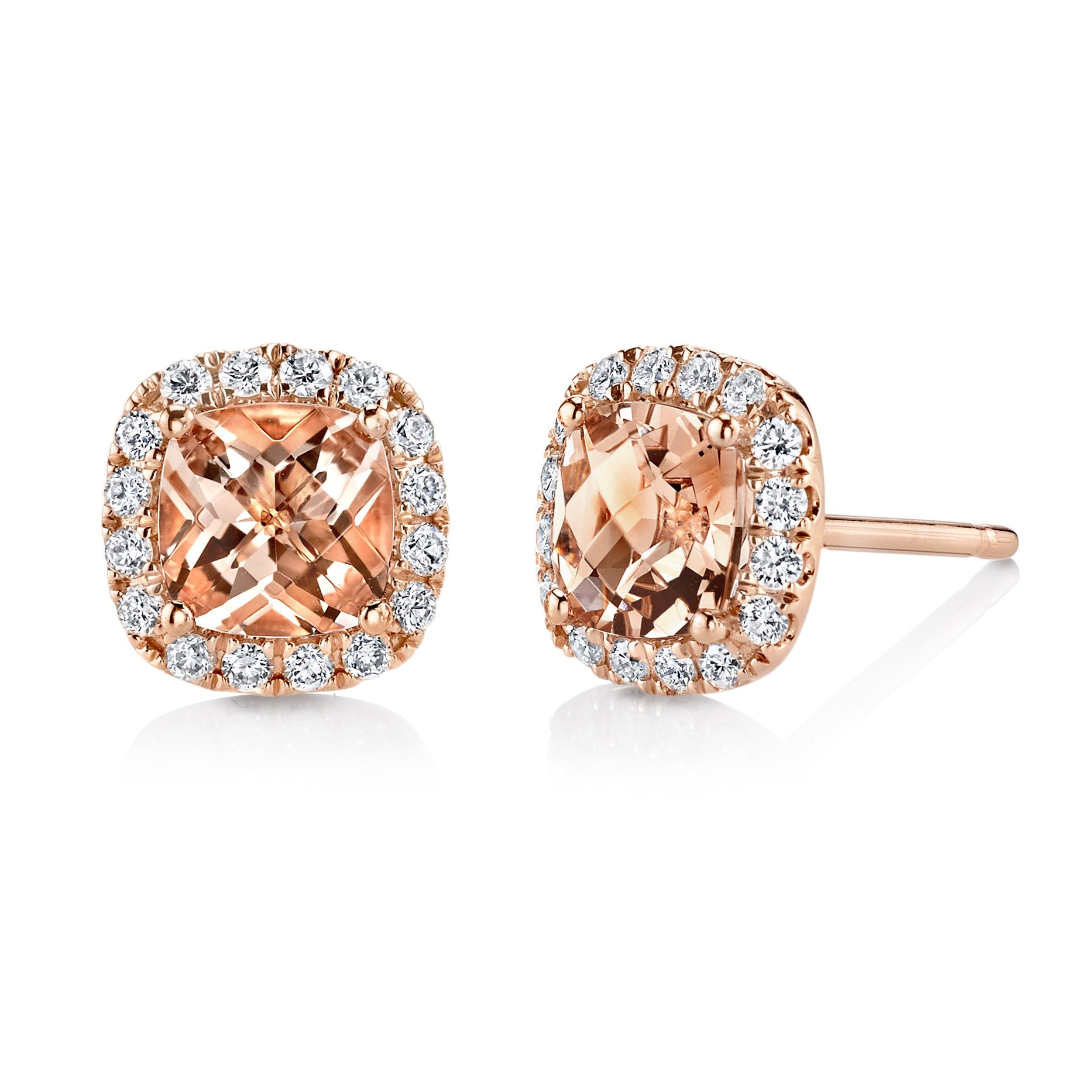 New NYC Sterling Women Rose Gold Plated Cubic Zirconia Marquis Simulated Morganite Halo Stud Earring (Cushion)