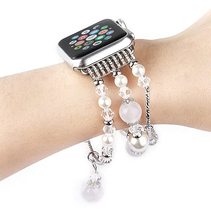 Pulsera elástica de perlas de imitación para Apple Watch, 42 ...