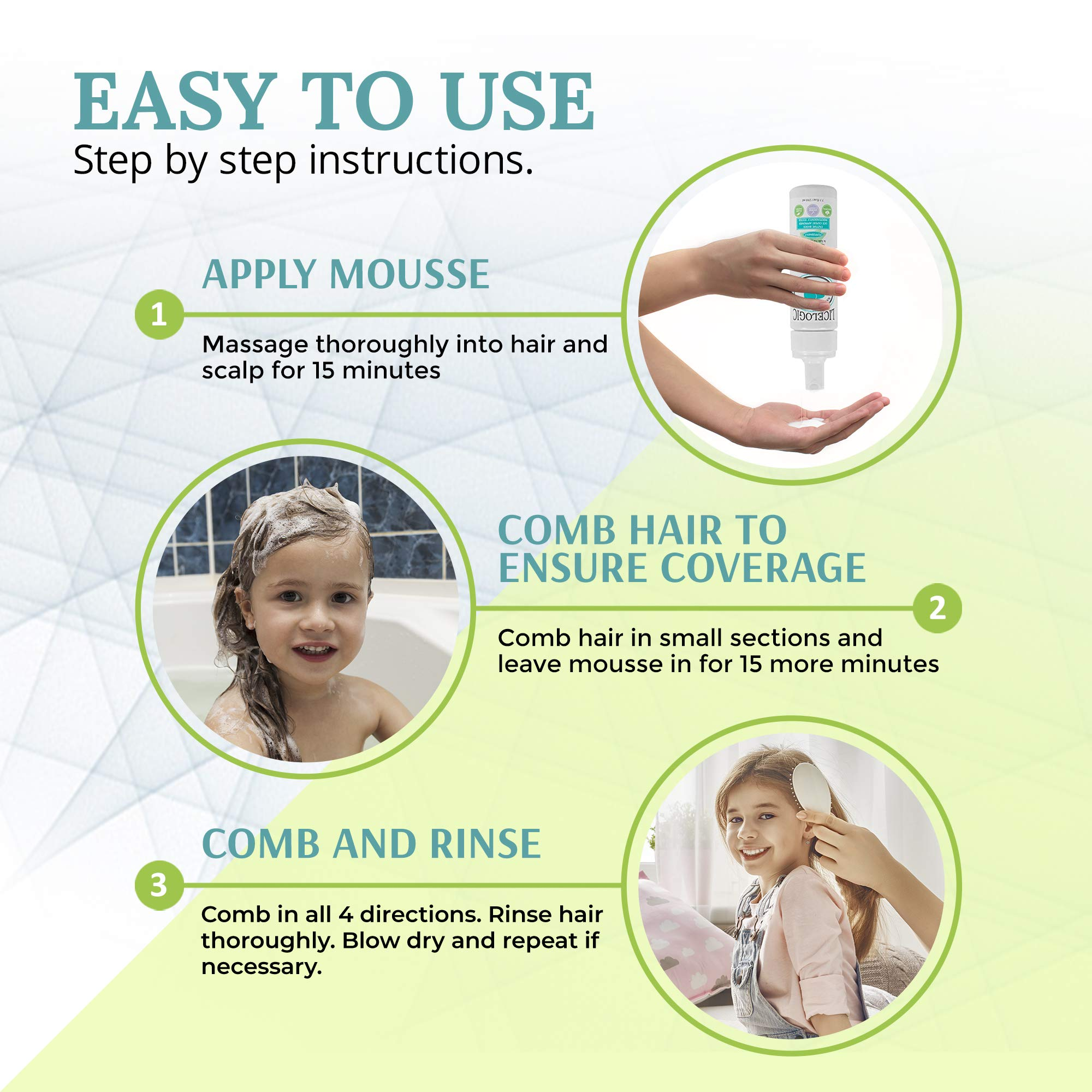LiceLogic Family Sized Lice Treatment Kit - Natural, Safe, Hypoallergenic Super Lice & Nit Treatment Kit - Shampoo, Hair Spray, Household Spray and Comb - Peppermint by LiceLogic
