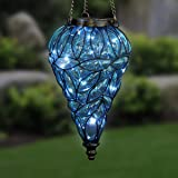 Exhart Blue Solar Lantern - Glass Tear-Shaped Hanging Lantern - Teardrop Glass Ceiling Lantern Hangs in a Metal Cage w/ 12 Bl