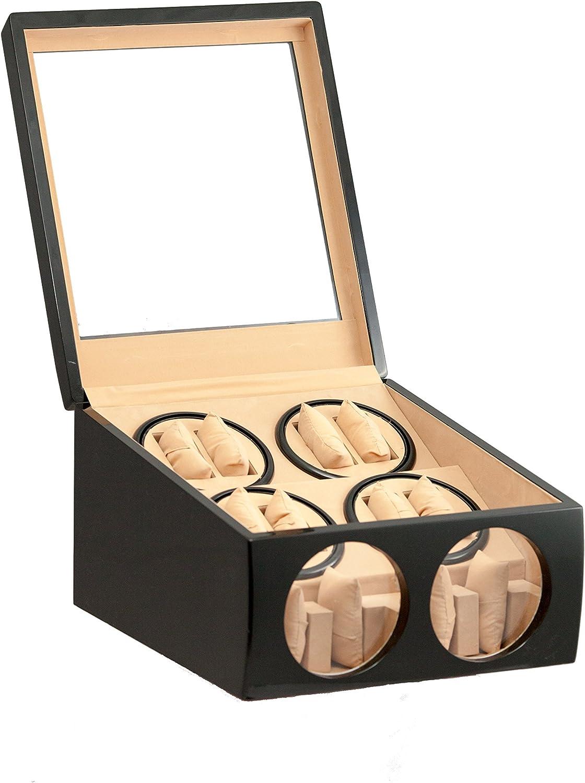 8+4 BLACK WOOD AUTOMATIC DUAL QUAD WATCH WINDER DISPLAY STORAGE BOX