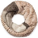 styleBREAKER écharpe snood à maille avec motif rayures effet vagues, fourrure synthétique, écharpe en maille, pour femmes 01018142