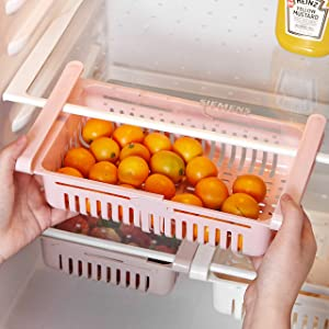 "STARSLIFE Retractable Drawer Type Refrigerator Storage Box Food Fresh-keeping Classified Organizer Container Basket Fridge Shelf Holder Plastic Storage Bins, Fit for Fridge Shelf Under 0.5"" - Pink"