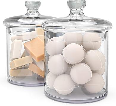Amazon Com Apothecary Jars By Kook Quality Glass Make Bathroom Canisters Set Of 2 36 Oz Home Improvement