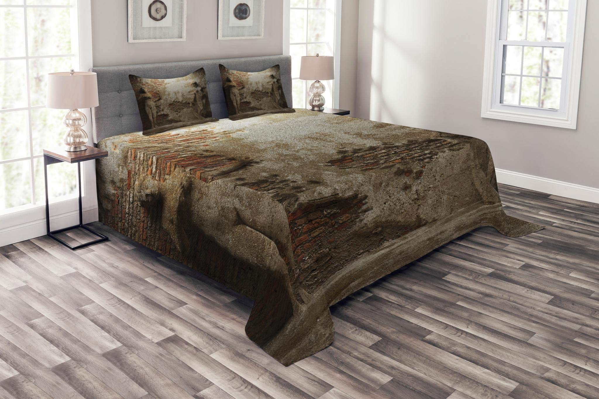 Lunarable Sculptures Bedspread Set Queen Size, Antique Women Sculptures on Concrete Cement Wall Damaged History Interior, Decorative Quilted 3 Piece Coverlet Set with 2 Pillow Shams, Warm Taupe Orange