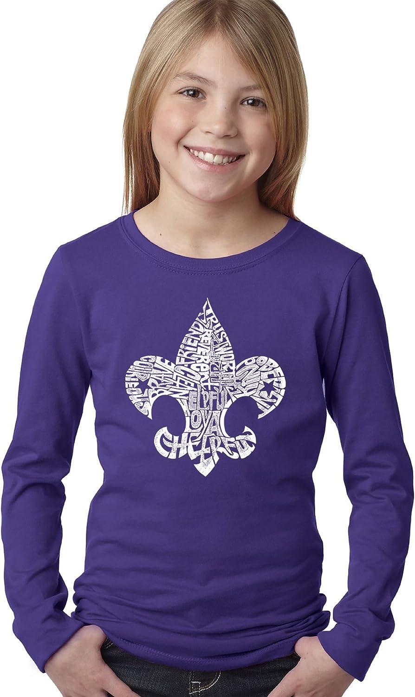 Girls Long Sleeve Word Art T-Shirt LA Pop Art 12 Points of Scout Law