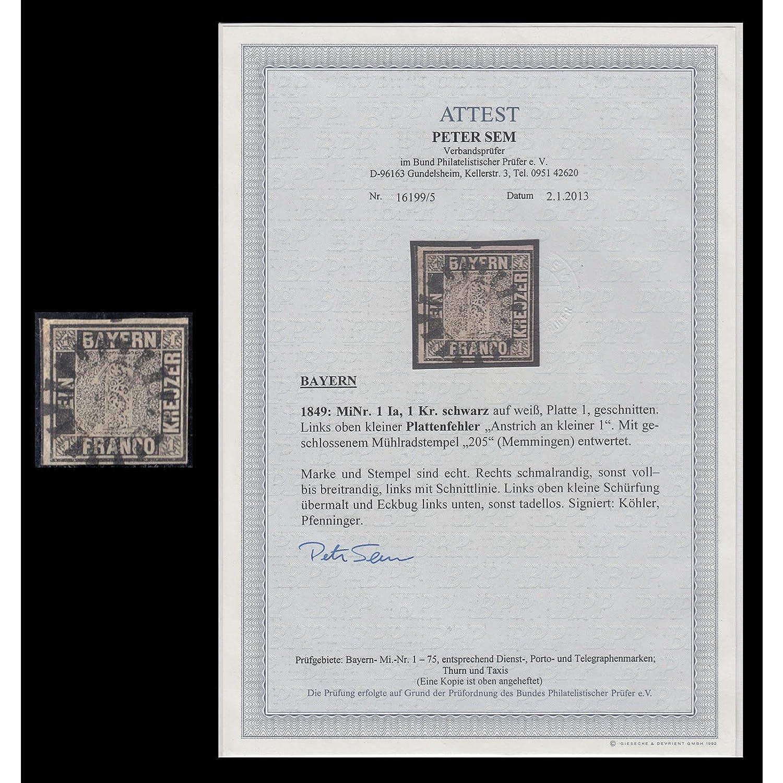 Goldhahn Bayern Nr. 1 gestempelt Mühlradstempel Memmingen mit Fotoattest Sem Briefmarken für Sammler