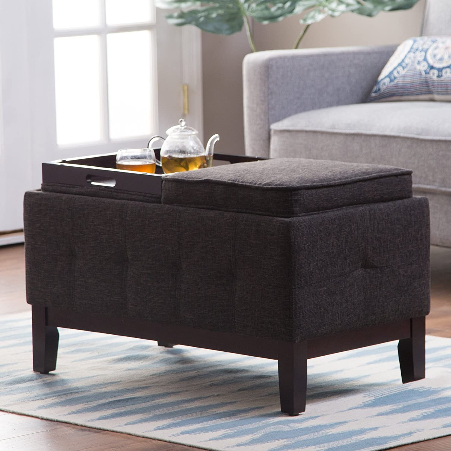 Amazon com storage bench ottoman tray table home furniture entryway living room bedroom indoor flip lids tufted sides space saver kitchen dining