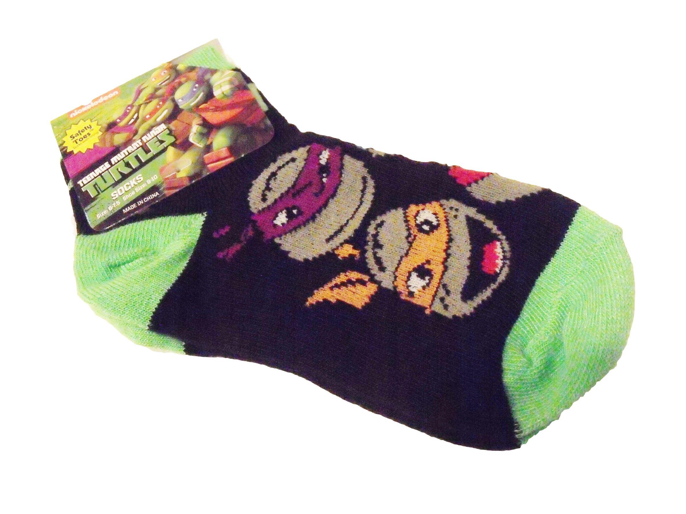 Teenage Mutant Ninja Turtles Faces Shoe Size 1-5 Green Black Toddler Boy Socks