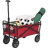 Seina Collapsible Folding Utility Wagon Garden Cart Shopping Beach Outdoors, Red