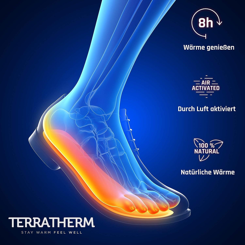 Schuhw/ärmer Einlagen TerraTherm W/ärmesohlen f/ür Schuhe 100/% nat/ürliche W/ärme Fu/ßw/ärmer Sohlen als auch Sohlenw/ärmer W/ärmeeinlagen f/ür Schuhe 5 Paar f/ür 8h warme F/ü/ße