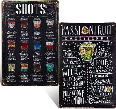 Pub Bar BACARDI cocktail Publicité aspect vieilli VINTAGE STYLE Rétro Métal Mural Signe