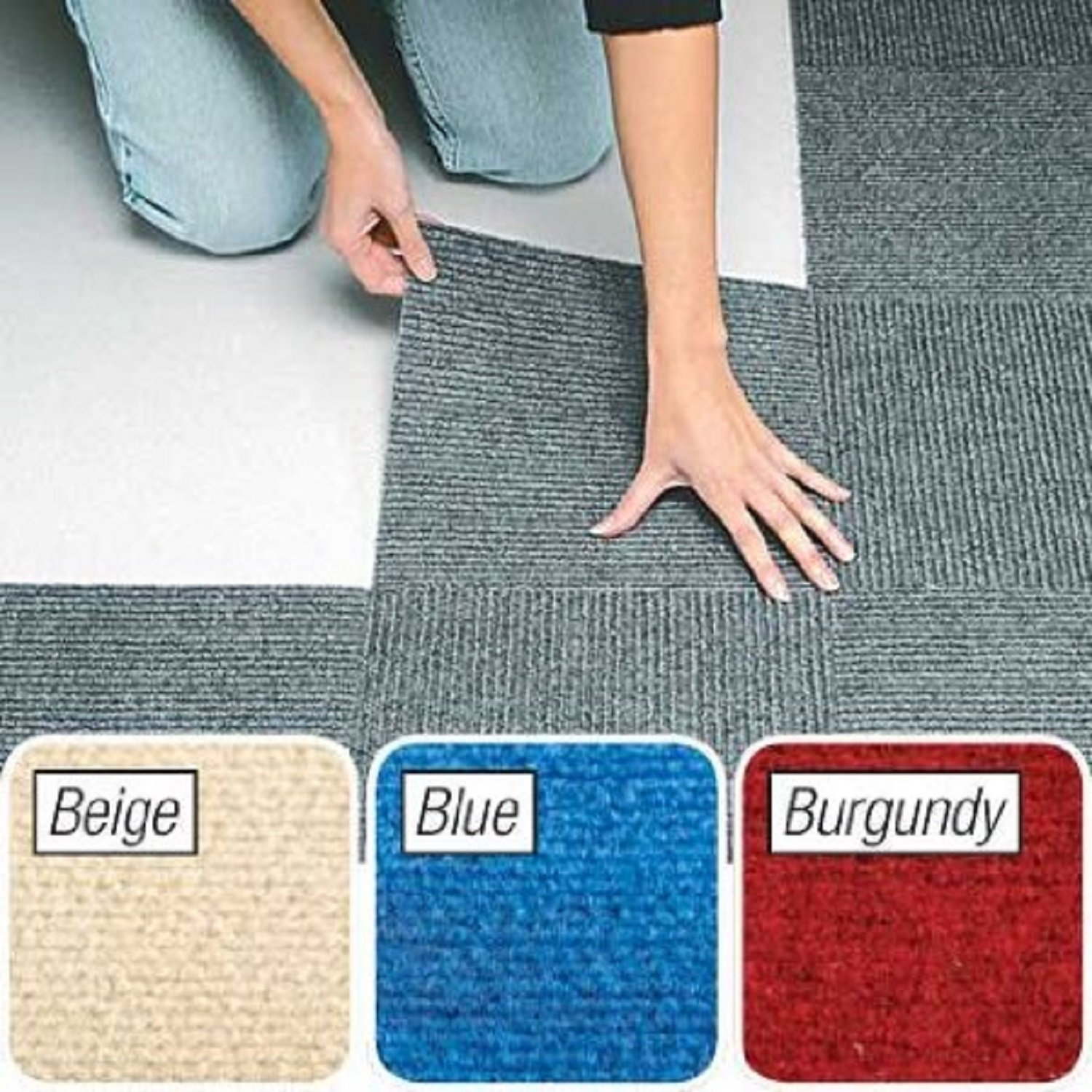 Berber Carpet Tiles Set of 10 Blue By Jumbl JUMBLTM