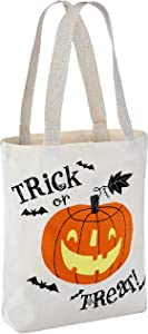 "Hallmark 13"" Large Halloween Tote Bag (Trick or Treat Pumpkin) Reusable Canvas Bag for Trick or Treating, Grocery Shopping and More"
