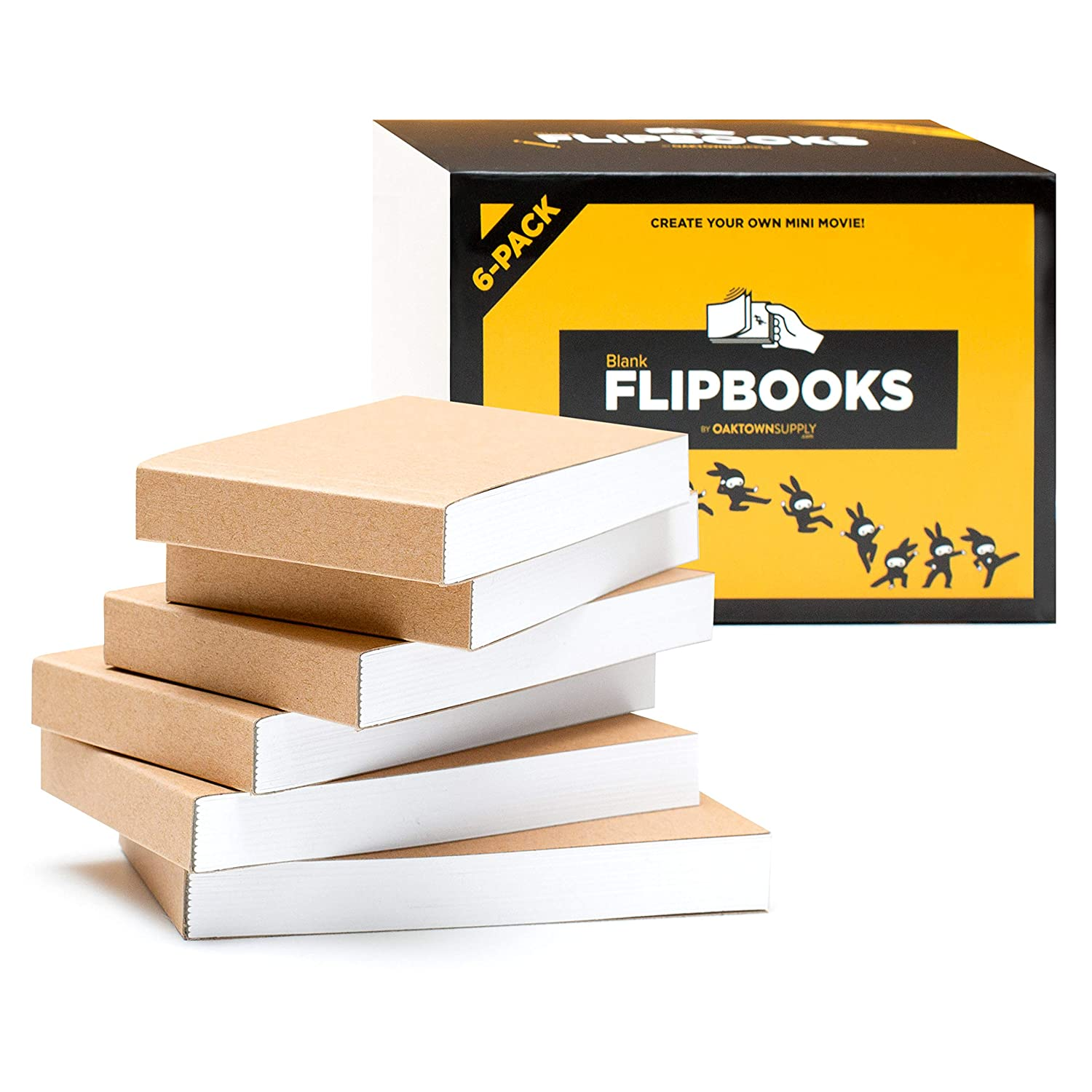 """Blank Flipbooks (Flip Book) for Animation, Sketching, and Cartoon Creation, 6 Pack, 4.5"""" x 2.5"""", 180 Pages (90 Sheets) :: Thick, No Bleed Drawing Paper with Sewn Binding :: Fun, Creative Craft for Kid"""
