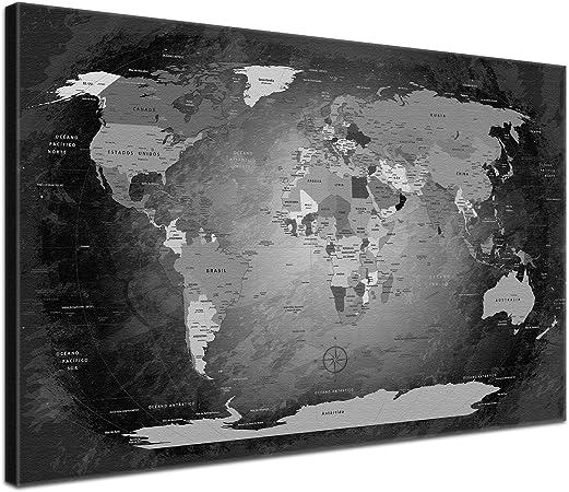LanaKK - Mapamundi EN BLANCO Y NEGRO - ESPAÑOL - Imagen Mapa del mundo de la lona XXL tierra
