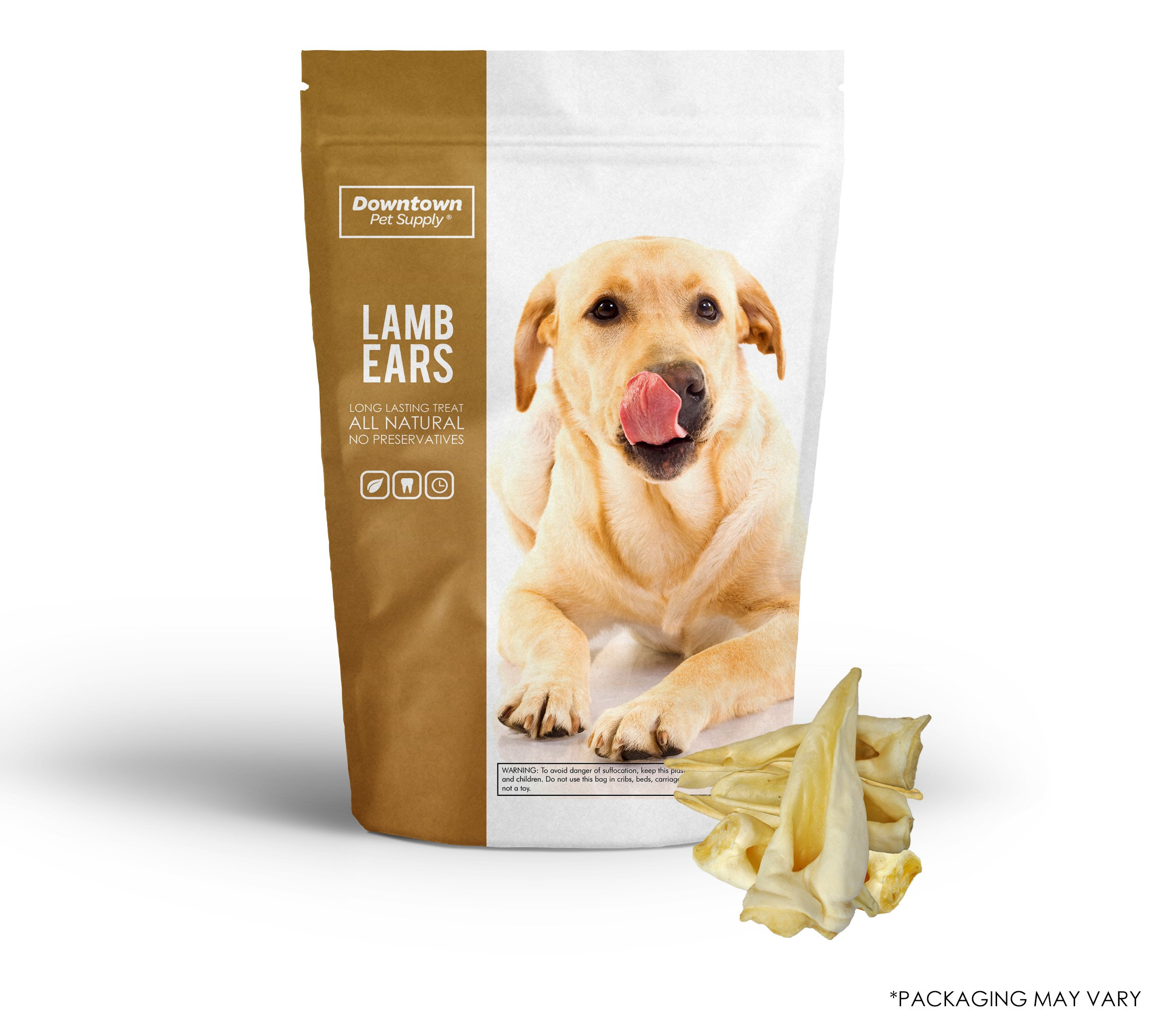 Downtown Pet Supply Best All Natural Alternative to Pig Ears for Dogs, Healthy Dog Training Treats (Lamb, 25 Pack)