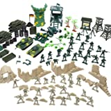 Flexzion Military Action Figures Playset, Army Men Toy Model Kit, Soldier Force Giftset, War Building Accessories Scene…