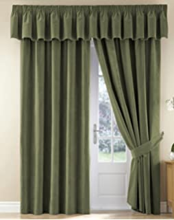 Thermal Velour Velvet Curtains Finished In Sage 46 Wide X 90 Drop