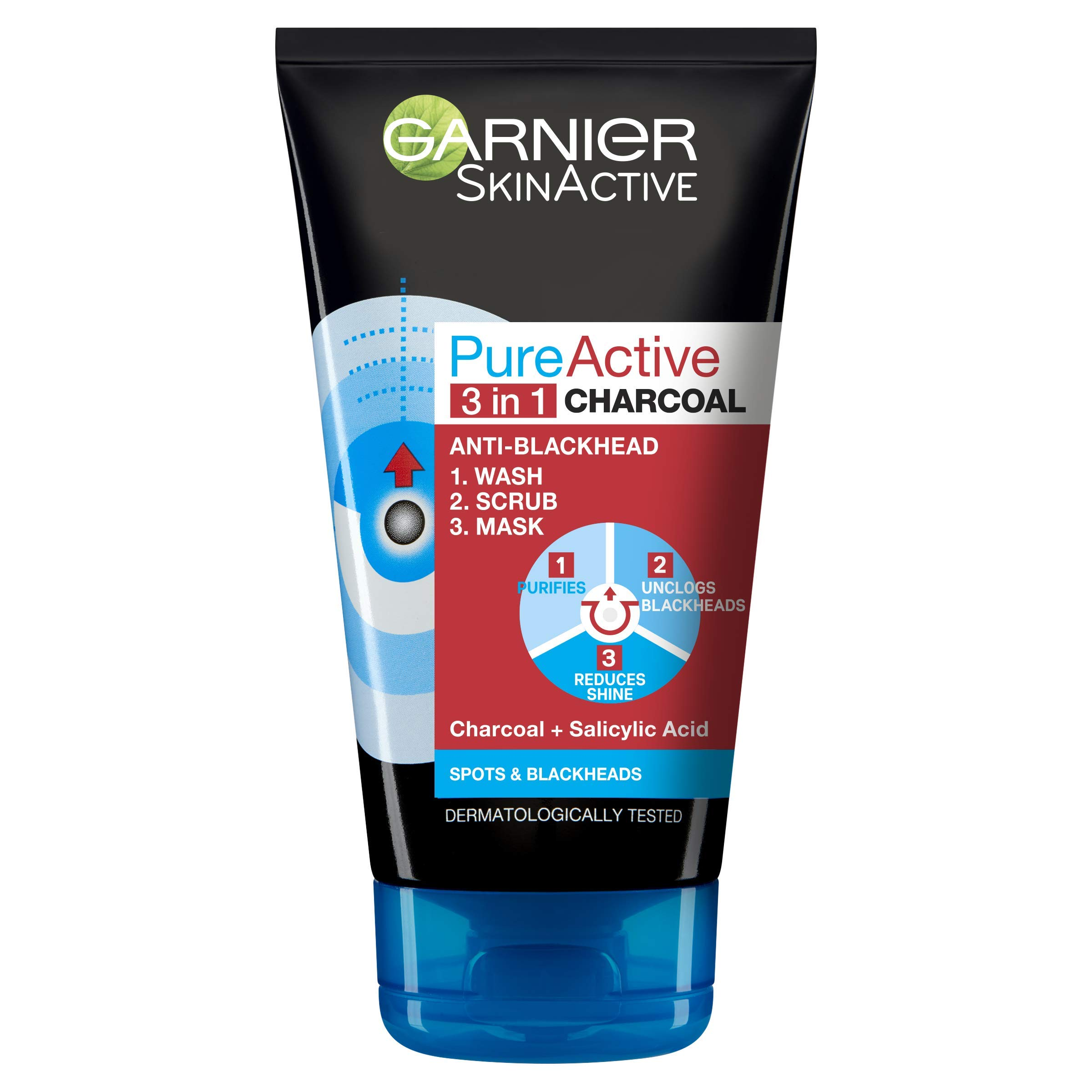 Garnier Skin Active Pure Active Intensive 3in1 Charcoal Anti-Blackhead, 150ml