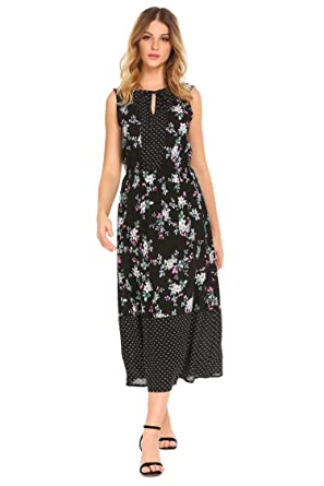 7e577eed1a ADOME Women Long Nightdress Floral Print Self-tie Neckline Nightgown Maxi  Dresses Loose Lounging Sleepwear
