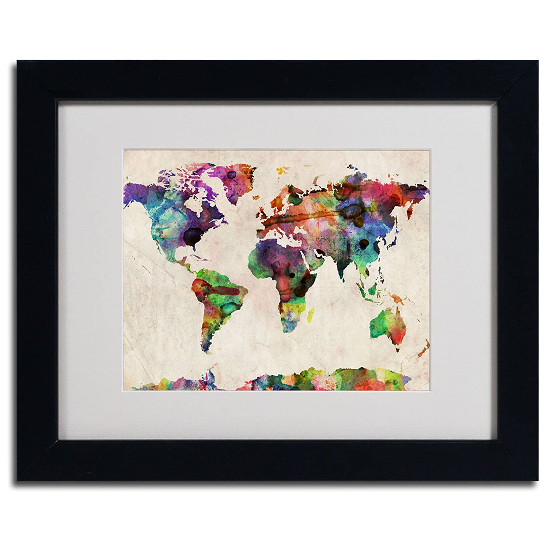 Urban Watercolor World Map.Amazon Com Urban Watercolor World Map Artwork By Michael Tompsett