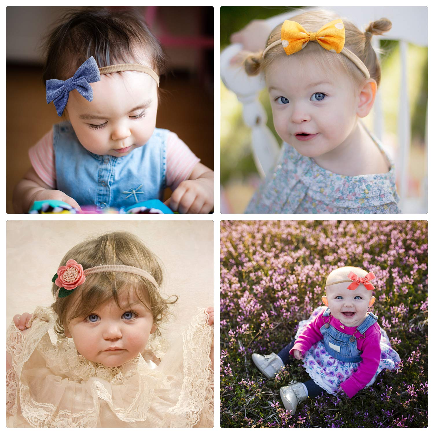 Newborn Infant Toddler Nylon Hairbands Hair Accessories Gifts by TOKUFAGU Baby Girl Headbands with Bows