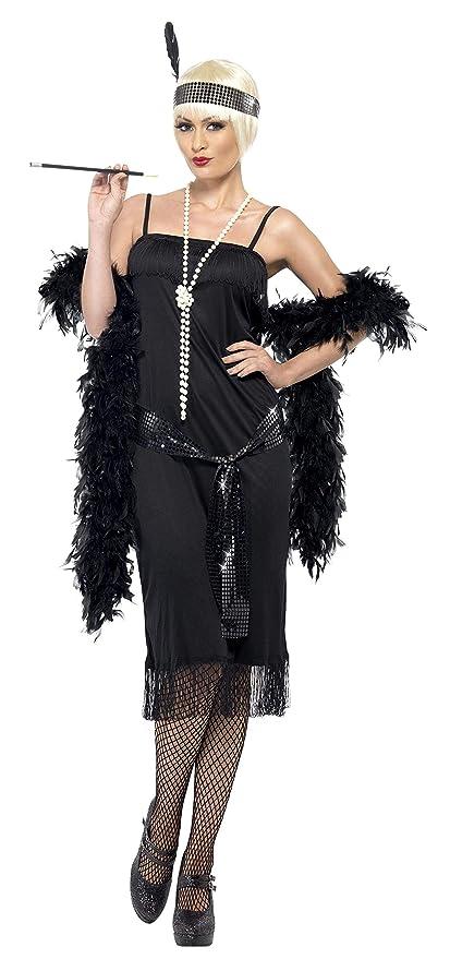 Smiffys Smiffys-28605X1 Disfraz de Joven a la Moda de los años 20, con Vestido, cinturón fajín y Banda para el Pelo, Color Negro, XL-EU Tamaño 48-50 ...