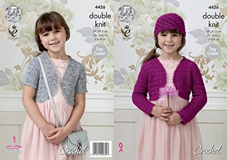 King Cole Double Knit Easy Crochet Pattern Long Or Short Sleeved