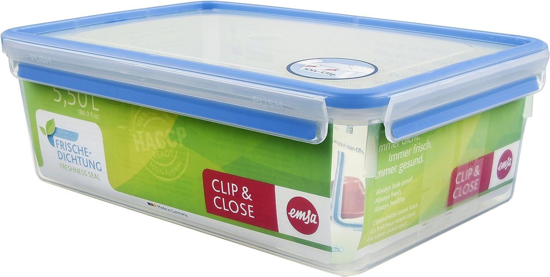 Emsa Clip & Close Conservador Hermético de Plástico Rectangular de 5,5 L, Transparente y azul