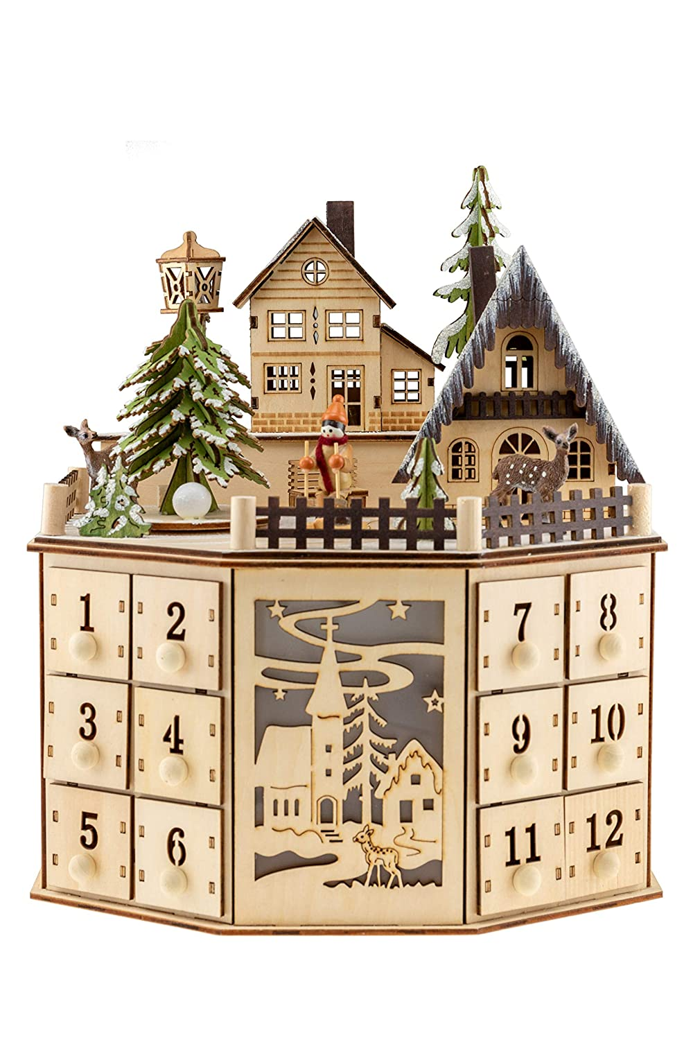 Clever Creations Traditional Wooden Advent Calendar | Festive Christmas Village Design with 24 Drawers | LED Christmas Lights and Rotating Christmas Tree