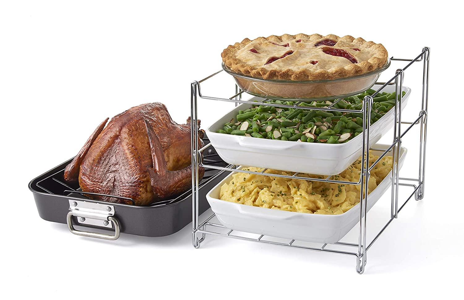 Betty Crocker Oven Insert with Large Non-Stick. 3-Tier Baking Rack and Roasting Pan Included, Charcoal and Chrome