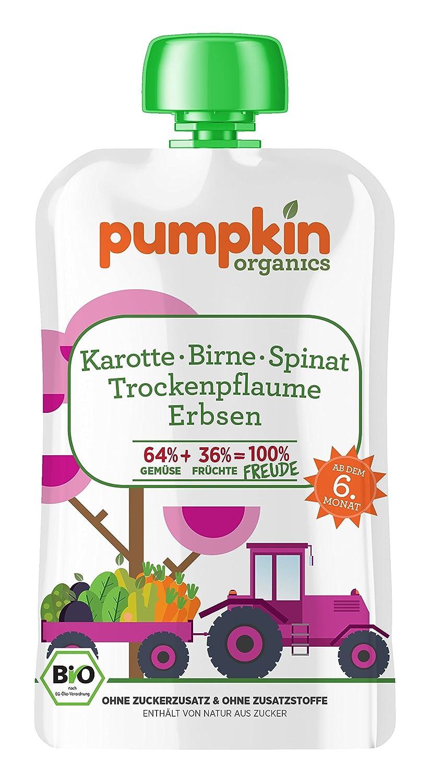 Pumpkin Organics 100g Bio Baby-Brei im Quetschbeutel aus Karotte - Spinat - Erbsen mit Birne und Trockenpflaume Babynahrung