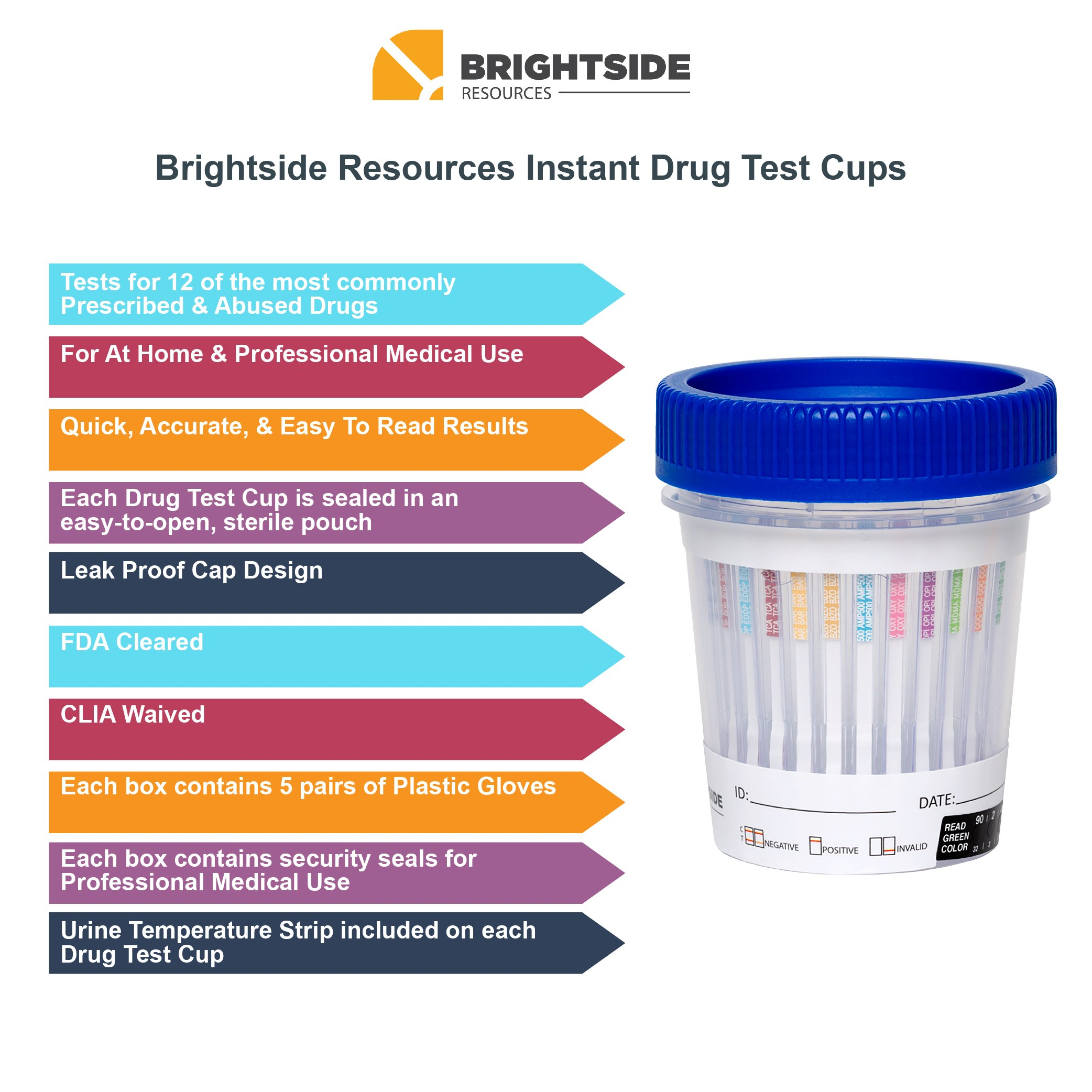 Brightside Resources 12 Panel Instant Urine Drug Test - Pack of 5 - for at Home & Medical Use - Accurate & Easy to Understand - THC, COC, OPI, OXY, Bar, TCA, MET, BZO, AMP, MDMA, BUP, Methadone by Brightside Resources (Image #4)