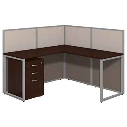 Etonnant Bush Business Furniture Easy Office 60W L Shaped Desk Open Office With  Mobile File Cabinet In