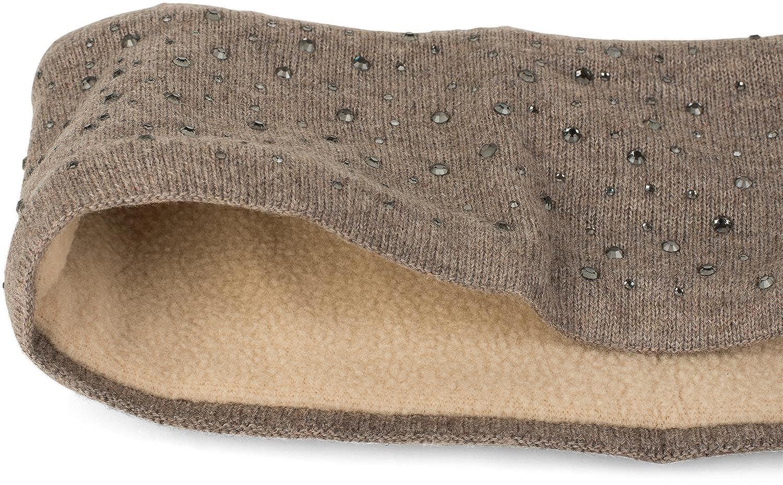 styleBREAKER Stirnband Feinstrick mit Strass Nieten Applikation und weichem Fleece Innenfutter Damen 04026003 Headband Haarband