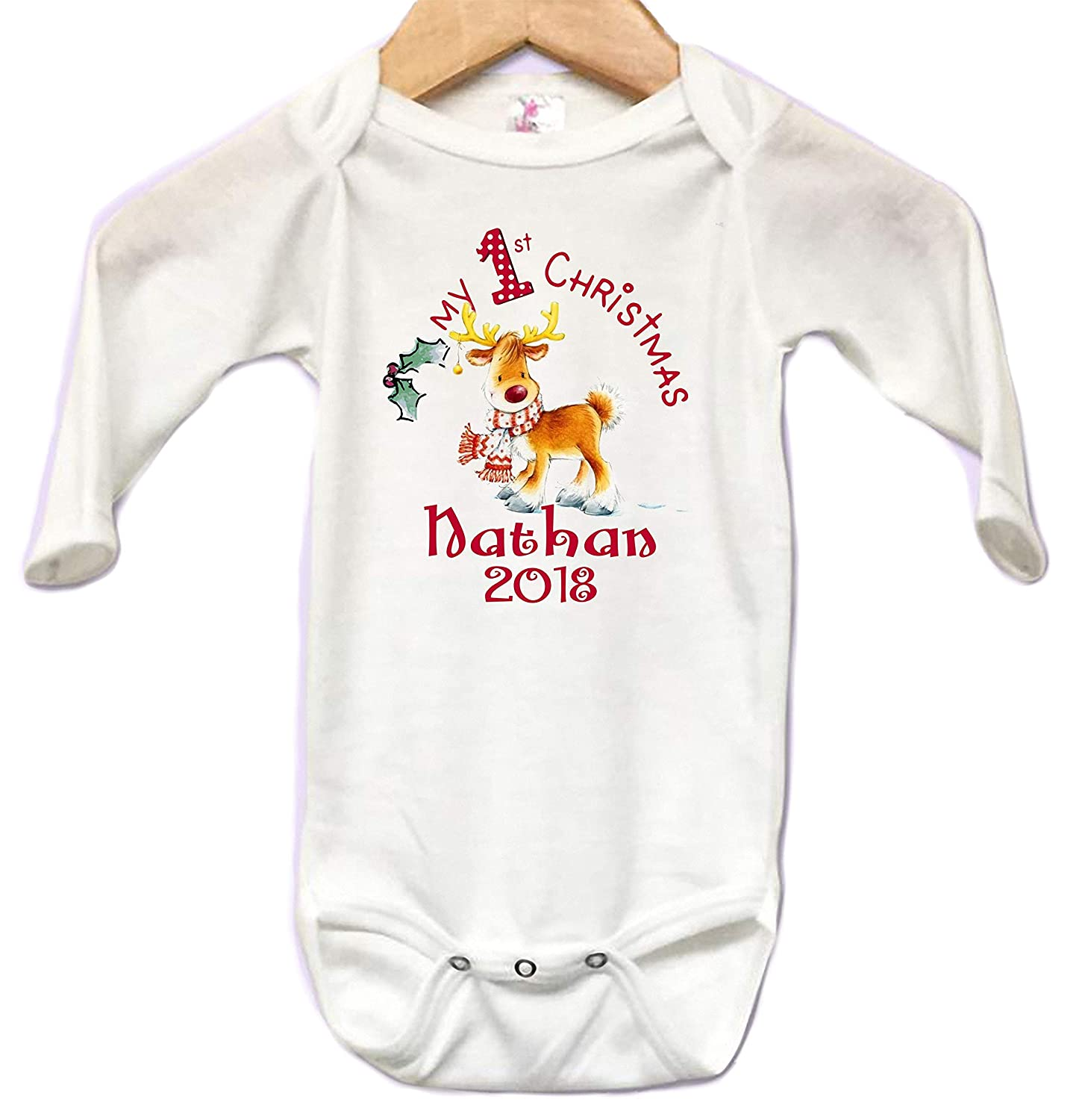 Onesie Long Sleeve Body Suit Babys First Christmas Reindeer Scarf Personalized NAME Custom 0 to 3 mos or 3 to 6 months or 6 to 12months for Boys or Girls