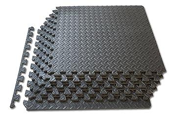 1st Click - Alfombrillas de espuma para el suelo (encajables, para azulejos, gimnasio, garaje y taller), color gris oscuro
